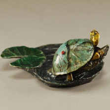 """Turtle Bronze Sculpture """"Johnny On The Spot"""""""