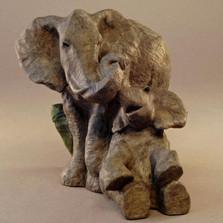 "Elephant Bronze Sculpture ""Embrace"""