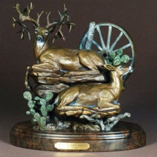 "Deer Bronze Sculpture ""Hill Country Reign"""