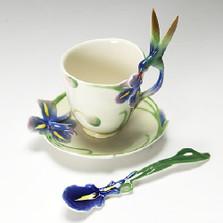 Hummingbird Iris Cup Saucer Spoon | fz00129