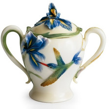 Long Tail Hummingbird Sugar Jar | fz00134 | Franz Porcelain Collection -2