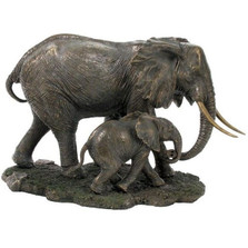 Elephant and Baby Sculpture