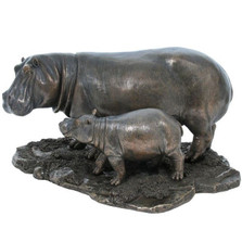Hippo and Baby Hippo Sculpture