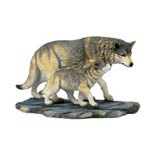 Wolf and Baby Wolf Sculpture 2