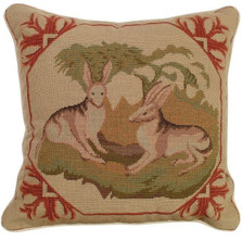 Lancaster Hare Needlepoint Pillow