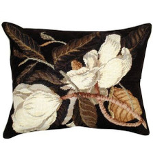 Magnolia Needlepoint Down Pillow