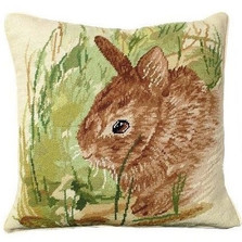 Rabbit Needlepoint Down Pillow Thumper