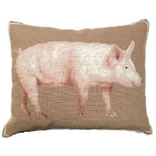 American Yorkshire Pig Needlepoint Down Pillow