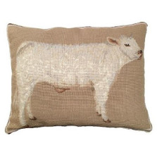 Cow Needlepoint Down Pillow Charolais