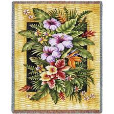 Tropical Flowers Throw Blanket