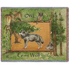 Gray Wolf Woven Throw Blanket