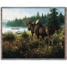 In His Domain Moose Tapestry Afghan Throw Blanket
