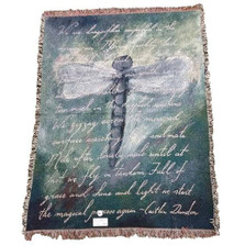 Dragonfly Poem Woven Throw Blanket