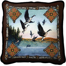 Geese Lodge Woven Throw Pillow