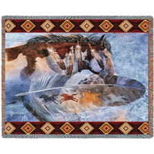 Horse Feathers Tapestry Afghan Throw Blanket   Pure Country   pc4310T