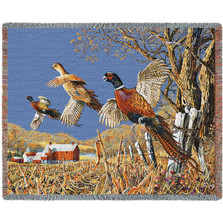 High Field Flush Pheasant Tapestry Afghan Throw Blanket