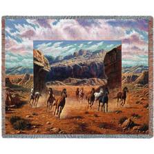 Running Horses Tapestry Afghan Throw Blanket
