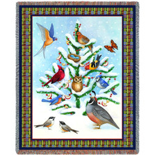 Winter Bird Haven Tapestry Throw Blanket Pure Country