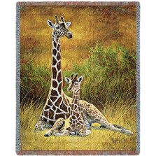 Giraffe Tapestry Afghan Throw Blanket Mother and Son