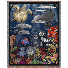 Under Water Dolphin Woven Throw Blanket