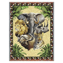 Big Five Wildlife Tapestry Afghan Throw Blanket