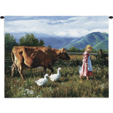 Morning Walk Cow Tapestry Wall Hanging