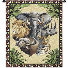 Big Five Safari Animals Tapestry Wall Hanging