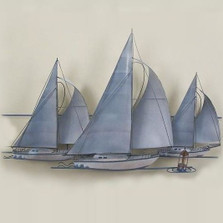 Three Sailboats Wall Sculpture
