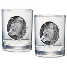 Black Bear Double Old Fashioned Glass Set of 2