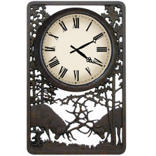 Battling Bull Deer Outdoor Clock