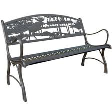Moose and Bear Cast Iron Garden Bench