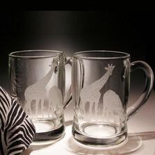 Giraffe Crystal Beer Mug Set of 2