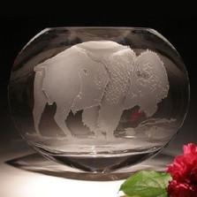 Buffalo Oval Crystal Vase