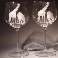 Giraffe Crystal 18 oz Wine Glass Set of 2