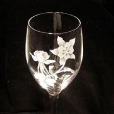 Columbine Flower Crystal 13 oz Wine Glass Set of 2