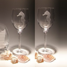 Seahorse Crystal 10 oz Wine Glass Set of 2