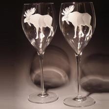 Moose 13 oz Crystal Wine Glass Set of 2