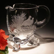 Bobwhite Scene Large Crystal Footed Pitcher