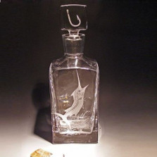 Swordfish and Hook Crystal Tall Square Decanter