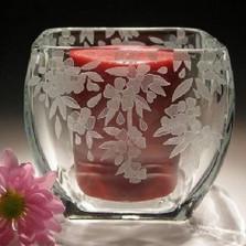 Cherry Blossom Crystal Votive Candle Holder