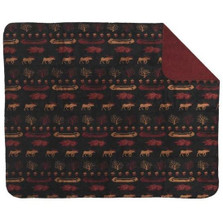 Black Denali Lake Moose Throw Blanket