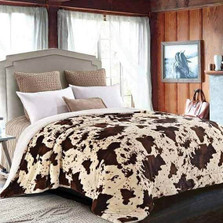 Rodeo Cow Print Faux-Fur King Blanket