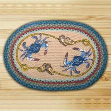 Blue Crab Oval Braided Rug