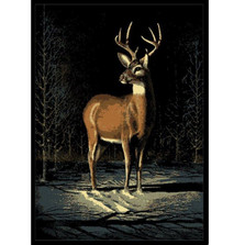 Winter Buck Deer Area Print Rug