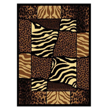 Zebra Leopard Area Rug African Montage
