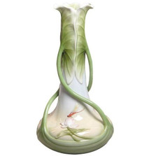 Dragonfly Lotus Leaves Porcelain Vase