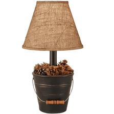 Bucket of Pine Cones Black Lamp