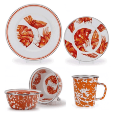 Shrimp Dinnerware 4 Piece Place Setting Enamelware | Golden Rabbit | GRESHRIMP