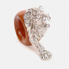 Lion Wood and Pewter Napkin Ring