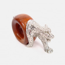 Leopard Wood and Pewter Napkin Ring